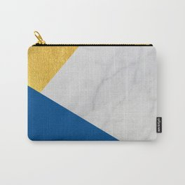 Carrara marble with gold and Pantone Lapis Blue color Carry-All Pouch