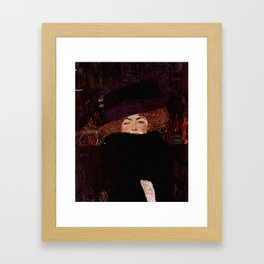 "Gustav Klimt ""Lady with Hat and Feather Boa"" Framed Art Print"