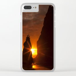 Rialto Beach Sunset Percusion Clear iPhone Case