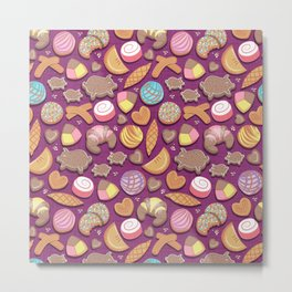 Mexican Sweet Bakery Frenzy // pink background // pastel colors pan dulce Metal Print