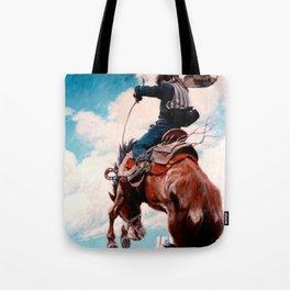 """Vintage Western Painting """"Bucking"""" by N C Wyeth Tote Bag"""