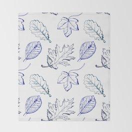 Leaves (navy) Throw Blanket