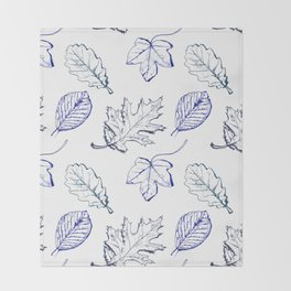 Leaves (navy) Throw Blanket