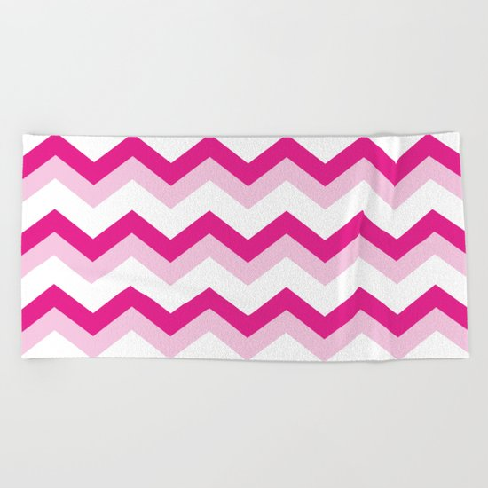 Pink & White Chevron Pattern - Zig Zag for your summer Beach Towel