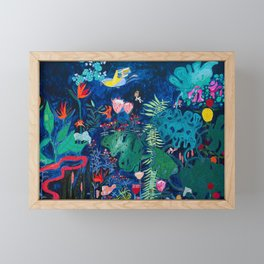 Brightly Rainbow Tropical Jungle Mural with Birds and Tiny Big Cats Framed Mini Art Print