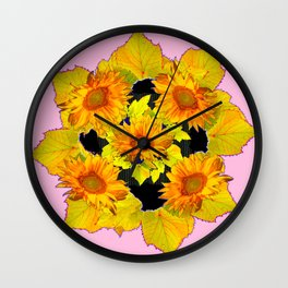 Golden Sunflowers & Leaves Pink-Black Patterns Wall Clock
