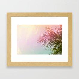 Pink Palm Leaf Poster Framed Art Print