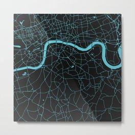 Black on Turquoise London Street Map Metal Print