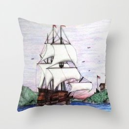 The Sea Lion in full sail Throw Pillow