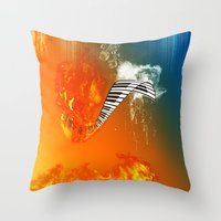 piano Throw Pillows featuring Piano by nicky2342