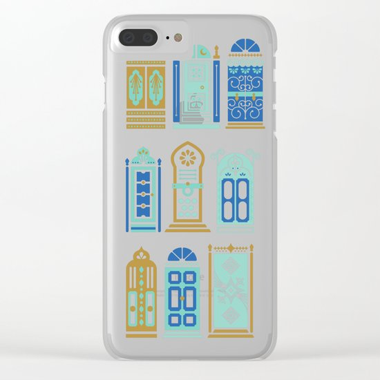 Moroccan Doors – Navy Palette Clear iPhone Case