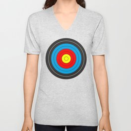 Yellow, red, blue, black target on white background Unisex V-Neck
