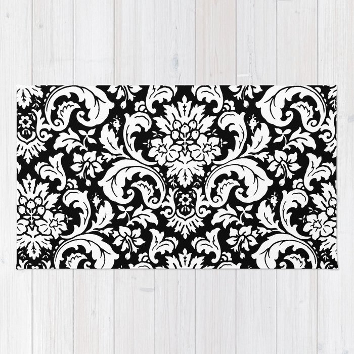 Damask Paisley Black And White Paisley Pattern Vintage Rug By