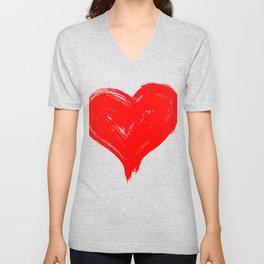 Red Heart painting Unisex V-Neck