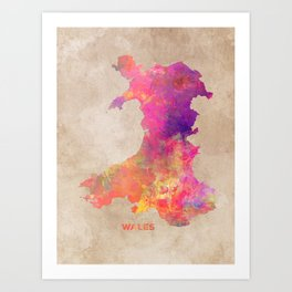 Wales map #wales #map Art Print