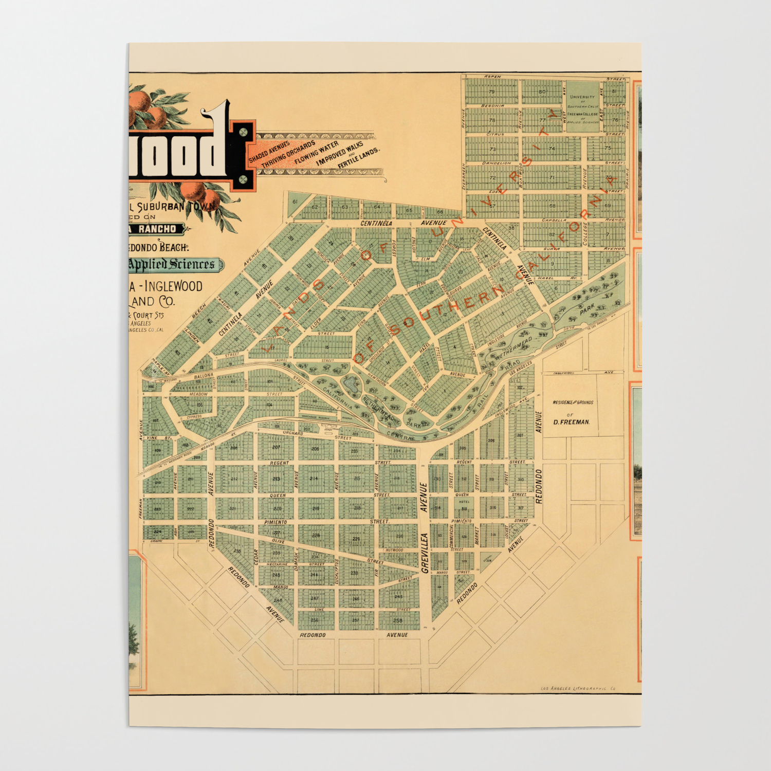 Map Of Inglewood 1885 Poster by lydiadavid