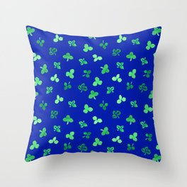 Clover Leaves Pattern on Royal Blue Throw Pillow