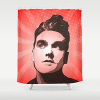 the smiths Shower Curtains featuring The Smiths - This Charming Man - Pop Art by William Cuccio aka WCSmack