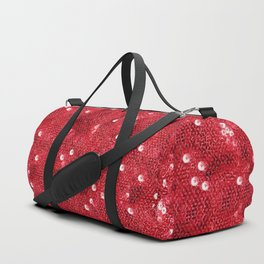 Faux Red Sequin Background Duffle Bag