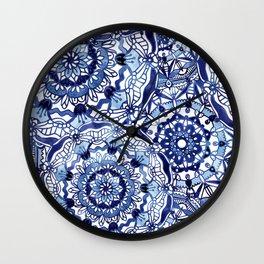 Delft Blue Mandalas Wall Clock