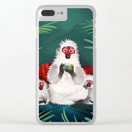 Urban Jungle Snow Monkeys Clear iPhone Case