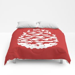 Pinecone Red and White Comforters