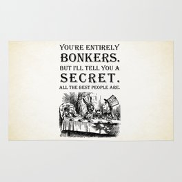 Alice In Wonderland - Tea Party - You're Entirely Bonkers - Quote Rug