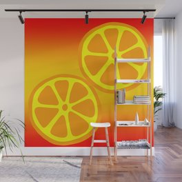 Tropical exotic bright yellow orange citrus slices summer fruity sunny pretty colorful whimsical cute retro design. Wall Mural