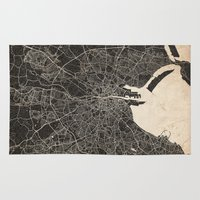 dublin Area & Throw Rugs featuring dublin map ink lines by NJ-Illustrations