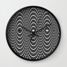 Black and white curvilinear design Wall Clock