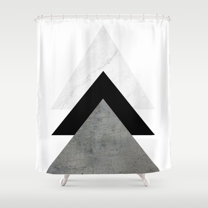 Arrows Monochrome Collage Shower Curtain By Byjwp