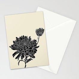 Black Chrysanthemum Stationery Cards