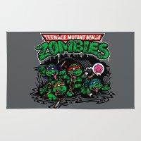 teenage mutant ninja turtles Area & Throw Rugs featuring Teenage Mutant Ninja Zombies by harebrained