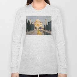 The Taj Mahal Gardens Hiroshi Yoshida Japanese Woodblock Prints Long Sleeve T-shirt
