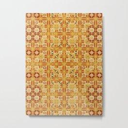 Tribal Batik, Shades of Amber and Brown Metal Print