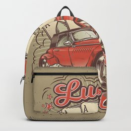 Vector grunge vintage illustration, poster with four card aces, retro car and old microphone Backpack