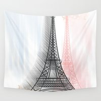 eiffel tower Wall Tapestries featuring Eiffel Tower by WIGEGA