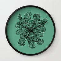 talking heads Wall Clocks featuring Heads by Lara Trimming