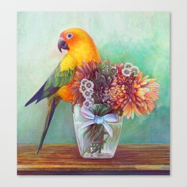 Sun conure and flowers Canvas Print