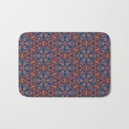 Striking Blue and Orange beadwork inspired Geometric Print Bath Mat