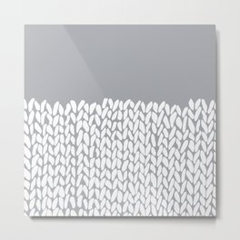 Half Knit Grey Metal Print