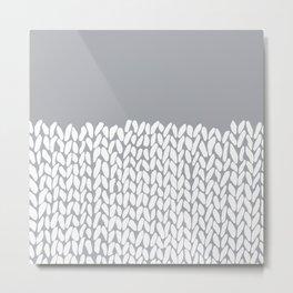 Half Knit Grey Metal Print