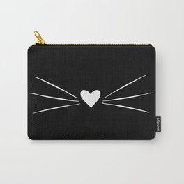 Cat Heart Nose & Whiskers White on Black Carry-All Pouch