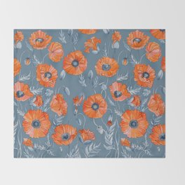 Red poppies in grey Throw Blanket
