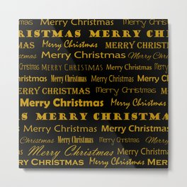 Golden Mery Christmas pattern Metal Print