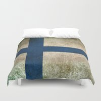 finland Duvet Covers featuring Old and Worn Distressed Vintage Flag of Finland by Jeff Bartels
