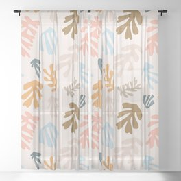 Seaweeds and sand Sheer Curtain