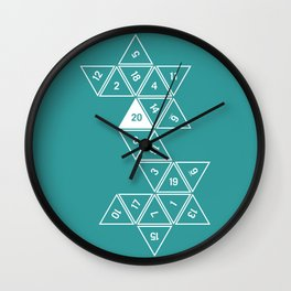 Teal Unrolled D20 Wall Clock