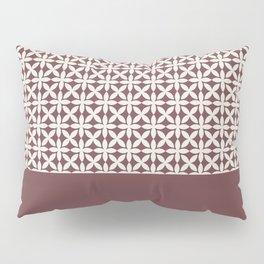 Pantone Cannoli Cream Square Petal Pattern on Pantone Red Pear Pillow Sham