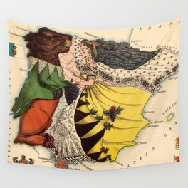 Vintage Illustrative Map of Spain (1869) Wall Tapestry